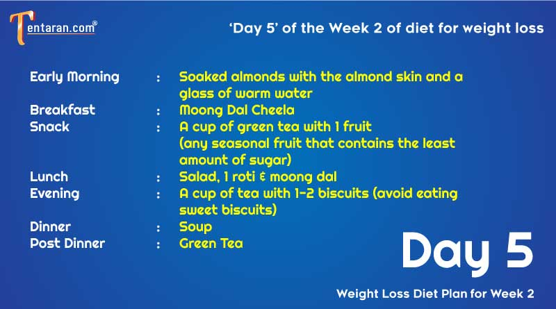 weight loss diet chart day5