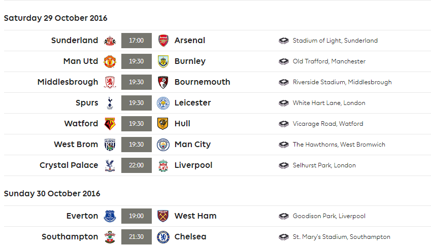 premier league football schedule