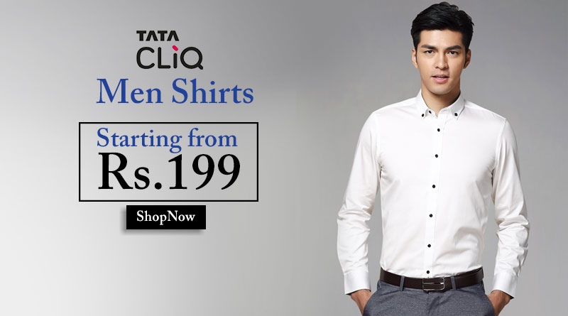 Men-Shirts starting from Rs 199 Only on TATACliq