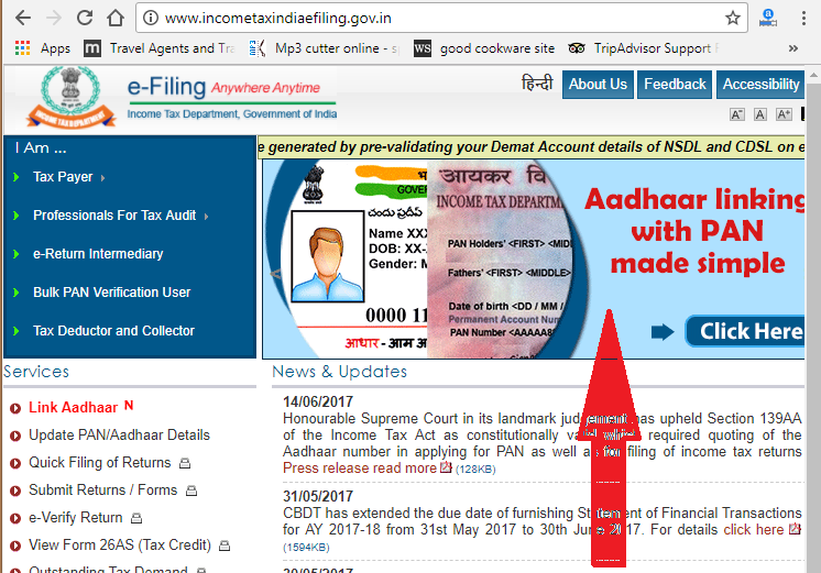 Link Aadhar card to Pancard