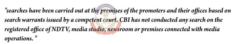 On Tuesday CBI issued a statement