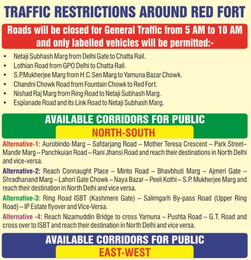 Traffic Restrictions Around Red Fort 1