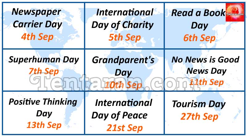What is the day today - Some special days in September 2017