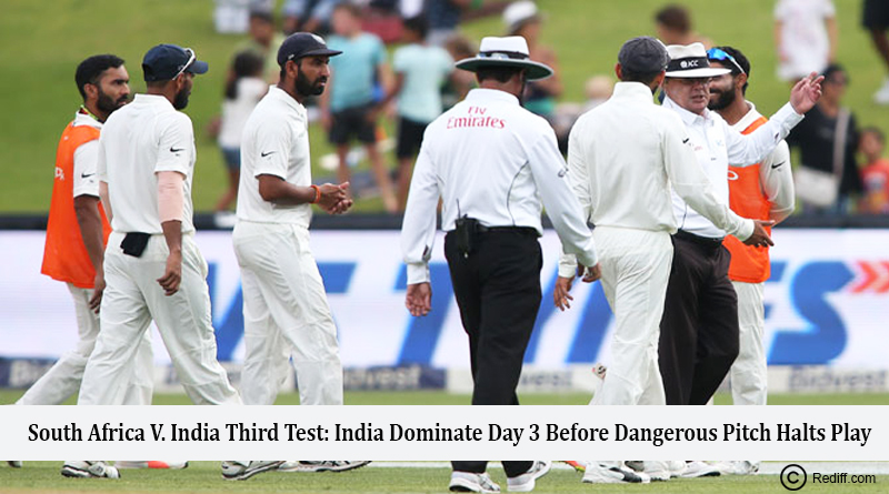 South Africa vs India Third Test India Dominate Day 3 Before Dangerous Pitch Halts Play
