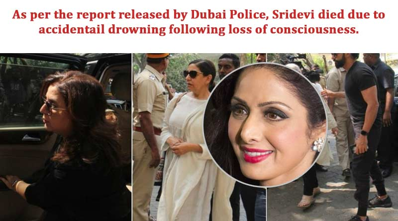 Sridevi died due to accidental