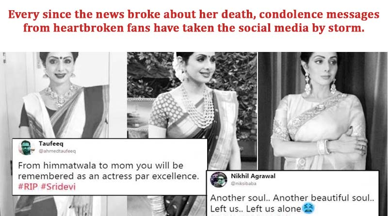 Social Media condolence messages from heartbroken fans of Sridevi