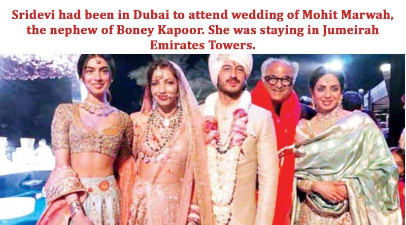Sridevi had been in Dubai to attend wedding of Mohit Marwah