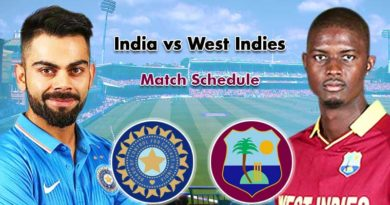 India vs West Indies match schedule