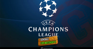 UEFA Champions League 2018-19 matchday 5 schedules