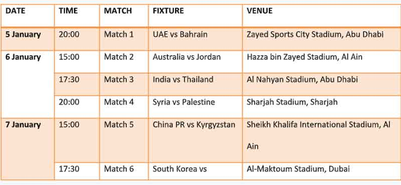 Asian Cup 2019 Indian Schedule And Timings