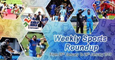 sports weekly roundup from 20thto 25th January 2019