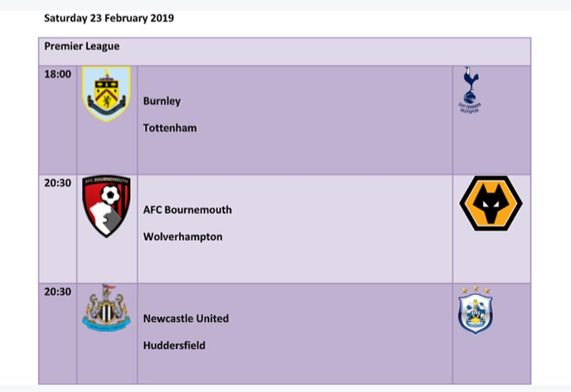 Premier League Gameweek 27 Matches