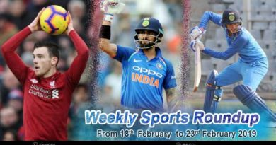 sports weekly round up from 18th February to 23rd February 2019