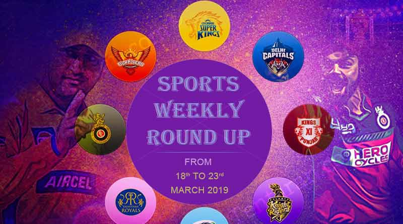 Sports weekly round up from 18th to 23rd March 2019