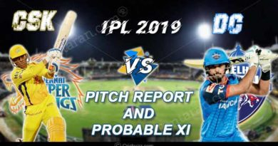 CSK vs DC Pitch Report and Probable XI