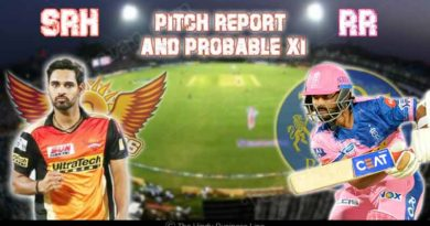RR Vs SRH IPL match Pitch report and Probable XI
