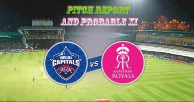 DC vs RR Pitch report and probable XI