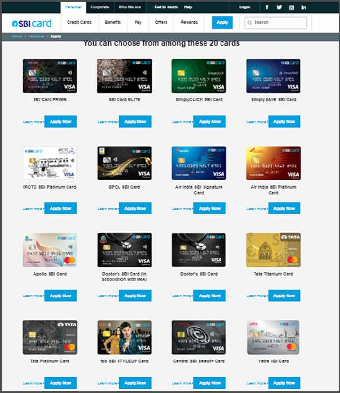 how to apply for sbi credit card online