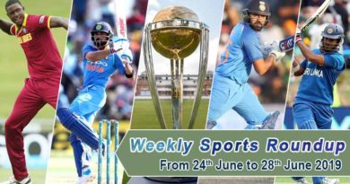 sports weekly roundup 24th June to 28th June