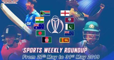 sports weekly roundup 27th May to 31st May 2019