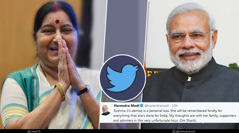 tweets of political leaders on the demise of sushma swaraj