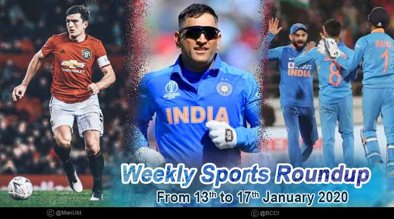 Sports weekly roundup 13th to 17th January 2020