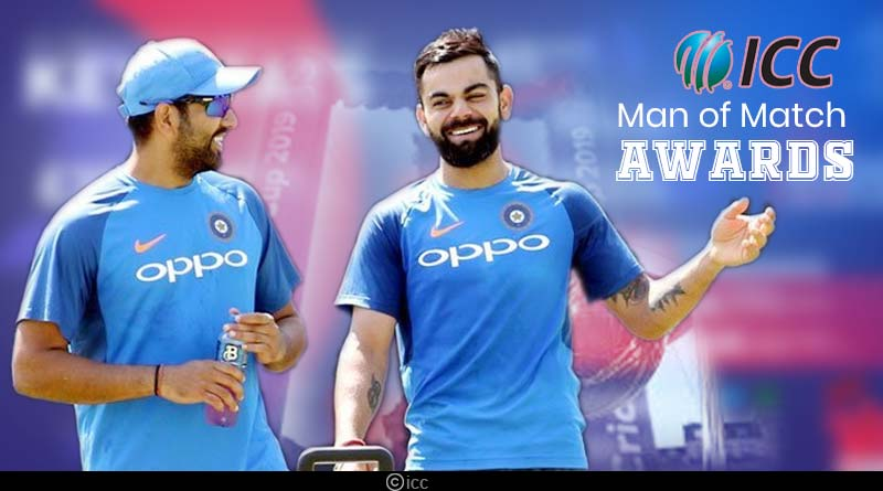 virat and rohit man of the match awards list in icc events
