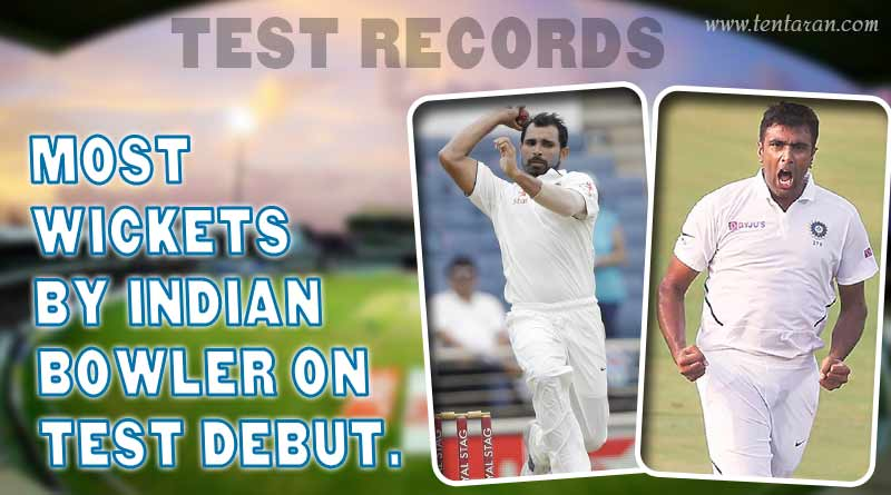 most wickets in debut test match for india