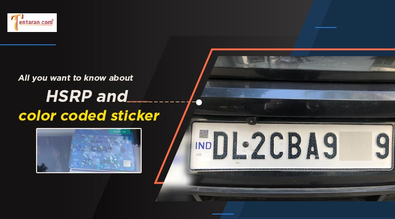 hsrp plate color coded sticker online apply english